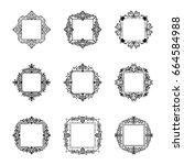 a huge rosette wicker border... | Shutterstock .eps vector #664584988