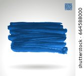 blue brush stroke and texture.... | Shutterstock .eps vector #664588000