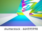 abstract dynamic interior with... | Shutterstock . vector #664595998