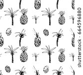 funky hand drawn palms and...   Shutterstock .eps vector #664596880