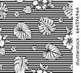 seamless tropical pattern with... | Shutterstock .eps vector #664596964