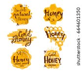 set of honey labels and design... | Shutterstock .eps vector #664601350