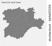 high quality map of castile and ... | Shutterstock .eps vector #664605334