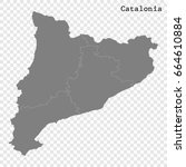 high quality map of catalonia... | Shutterstock .eps vector #664610884
