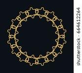 golden round ornament  frame ... | Shutterstock .eps vector #664612264