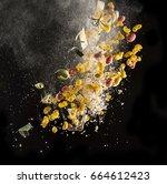 explosion of ingredients for... | Shutterstock . vector #664612423