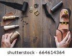 cobbler tools in workshop dark... | Shutterstock . vector #664614364