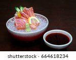 salmon sashimi with wasabi... | Shutterstock . vector #664618234