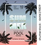 summer pool party poster.... | Shutterstock .eps vector #664619809