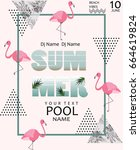 summer pool party poster....   Shutterstock .eps vector #664619824