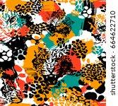 leopard exotic cat seamless... | Shutterstock .eps vector #664622710