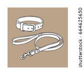 simple pet  cat  dog buckle... | Shutterstock .eps vector #664625650