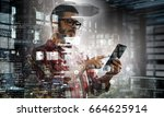 technologies for connection and ... | Shutterstock . vector #664625914