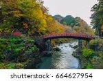 view of shinkyo bridge in...   Shutterstock . vector #664627954