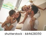 family spending free time at... | Shutterstock . vector #664628350