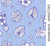 seamless tropical pattern with... | Shutterstock .eps vector #664637263