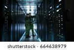 In data center two military men ...