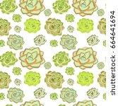 succulent plant seamless... | Shutterstock .eps vector #664641694