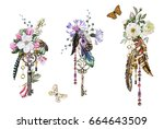 Stock photo set watercolor illustration with roses and other flowers keys and feathers tribal background 664643509