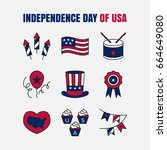 vector icon set   4th of july ... | Shutterstock .eps vector #664649080