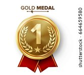 gold 1st place medal vector.... | Shutterstock .eps vector #664659580
