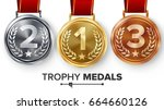 champion medals set vector.... | Shutterstock .eps vector #664660126