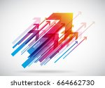 abstract red arrows background... | Shutterstock .eps vector #664662730
