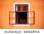 opened old red window with... | Shutterstock . vector #664668916