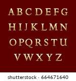 gold metal letters. vector... | Shutterstock .eps vector #664671640
