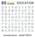 set line icons in flat design... | Shutterstock . vector #664672876