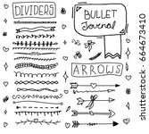 set of cute hand drawn doodle... | Shutterstock .eps vector #664673410
