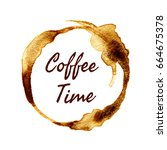 vector round coffee time label... | Shutterstock .eps vector #664675378