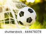 soccer ball on green grass in... | Shutterstock . vector #664678378