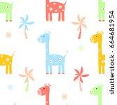 giraffe cartoon seamless vector ...   Shutterstock .eps vector #664681954