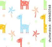 giraffe cartoon seamless...   Shutterstock . vector #664683568