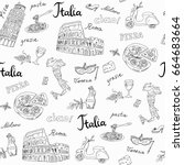 seamless pattern of italy... | Shutterstock .eps vector #664683664