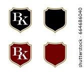 b k letter shield logo template