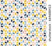 pastel pink  navy blue  beige ... | Shutterstock .eps vector #664688413