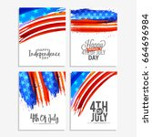 4th of july poster or banner... | Shutterstock .eps vector #664696984