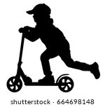 silhouette child scooter | Shutterstock .eps vector #664698148