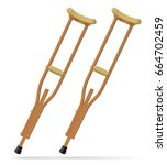 crutches. medical realistic... | Shutterstock .eps vector #664702459