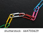 chain made of paper clips on... | Shutterstock . vector #664703629