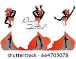 girls in passionate latin... | Shutterstock .eps vector #664705078