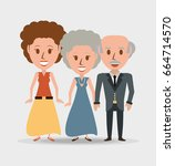 retro family grandparents with... | Shutterstock .eps vector #664714570