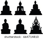 Buddha Statue In Silhouette On...