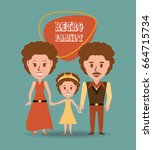 retro family parents with their ... | Shutterstock .eps vector #664715734