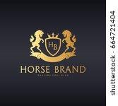 horse brand logo. great crest... | Shutterstock .eps vector #664721404