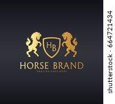 horse brand logo. great crest... | Shutterstock .eps vector #664721434