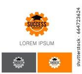 success gear graduation hat logo | Shutterstock .eps vector #664723624