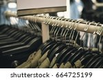 closeup on shopping clothes... | Shutterstock . vector #664725199